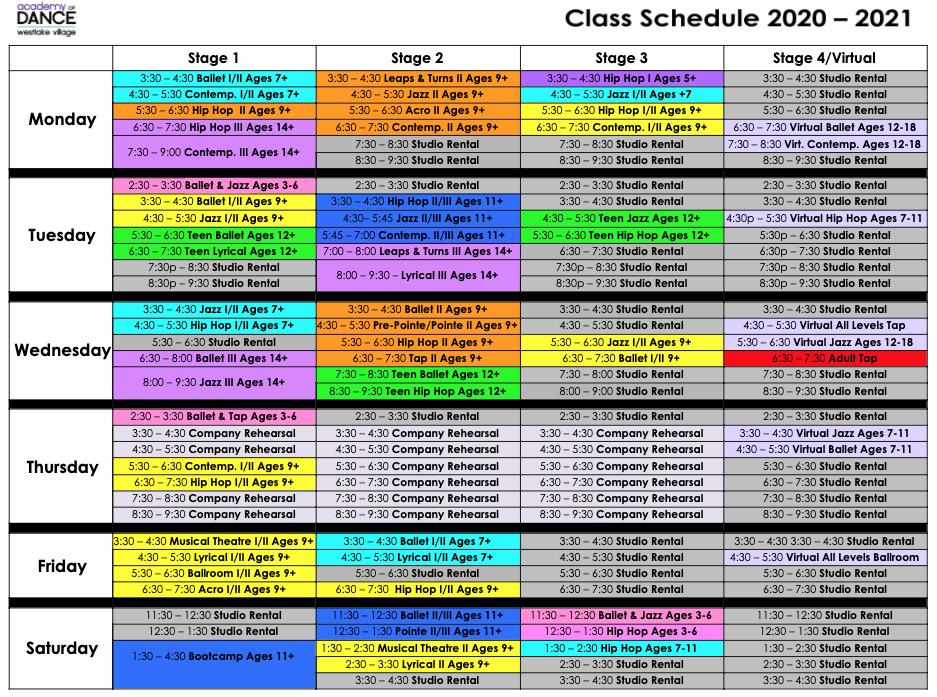 Schedule 2020-2021