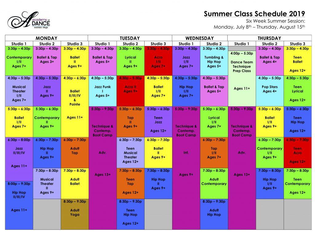 Summer Class Schedule 2019