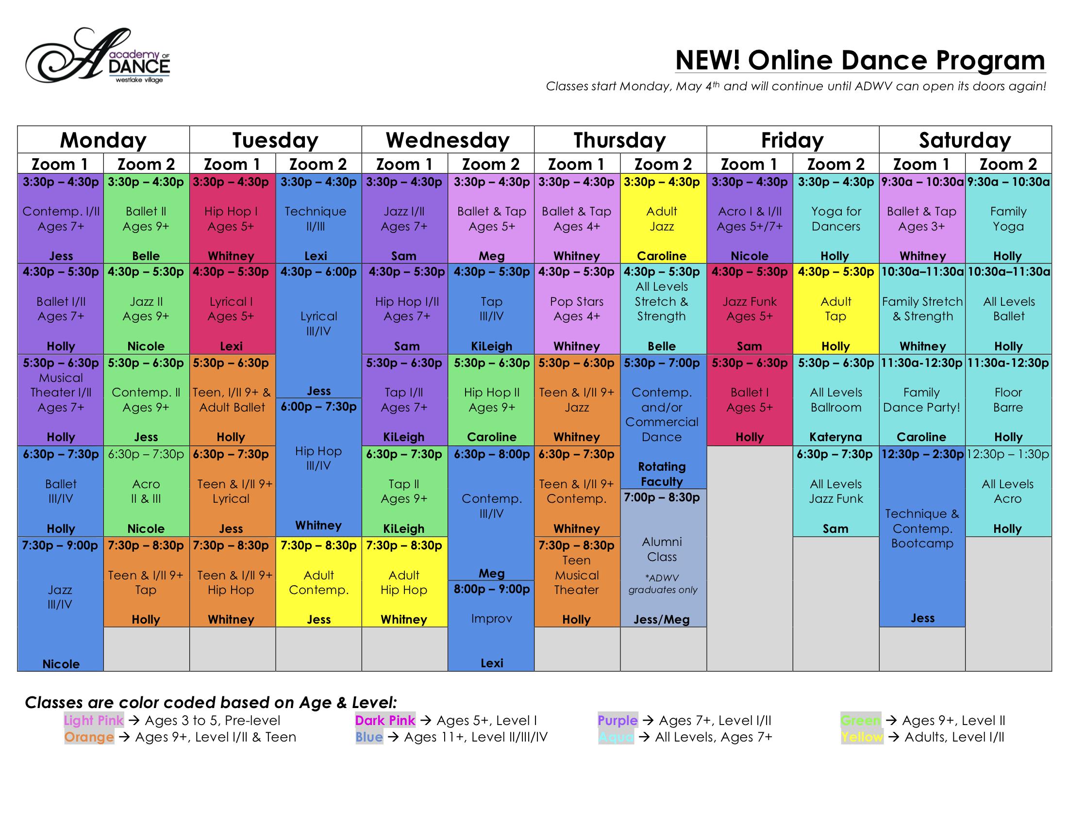 ADWV's Virtual Schedule